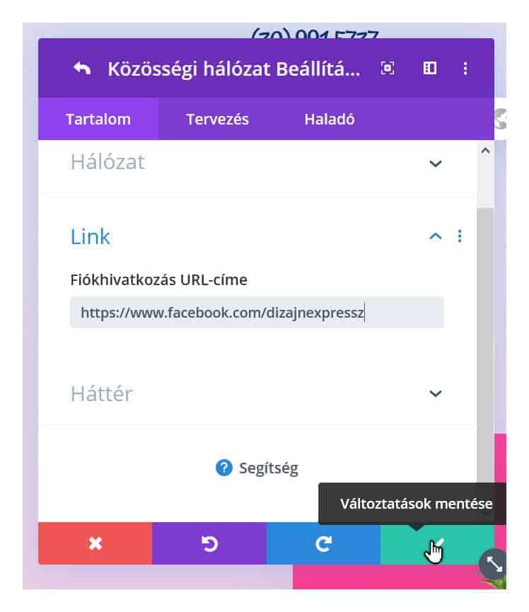 Közösségi webcím megadása
